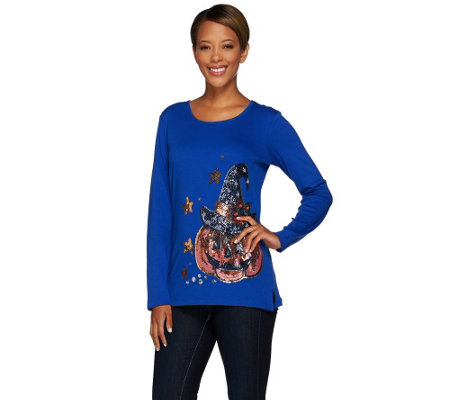 Quacker Factory Witching Hour Sequin and Beaded Long Sleeve T-Shirt
