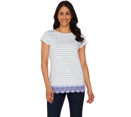 Isaac Mizrahi Live! Striped Knit Top with Lace Hem Detail