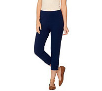 Susan Graver Weekend Cotton Spandex Capri Pants w/ Charm Button Detail - A275233