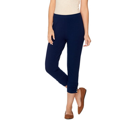Susan Graver Weekend Cotton Spandex Capri Pants W Charm Button Detail