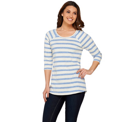 Isaac Mizrahi Live! TRUE DENIM Striped Raglan Sleeve Tunic