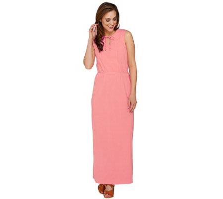 Isaac Mizrahi Live! Petite Split V-neck Knit Maxi Dress