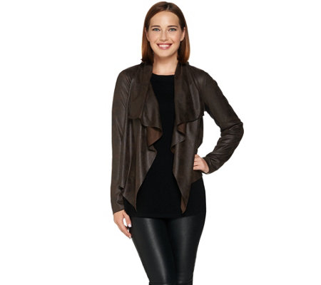 Lisa Rinna Collection Drape Front Faux Suede Jacket