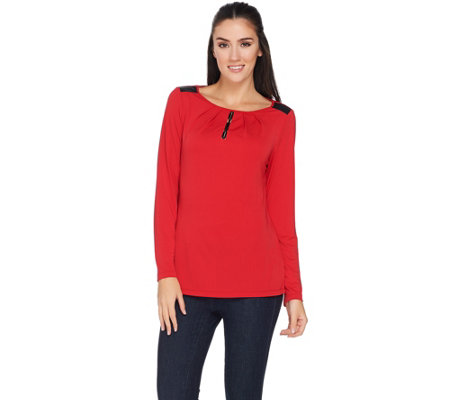 Susan Graver Premier Knit Top with Faux Leather Trim