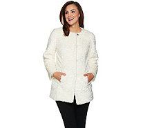 Dennis Basso Platinum Collection Faux Fur Topper Coat - A286133