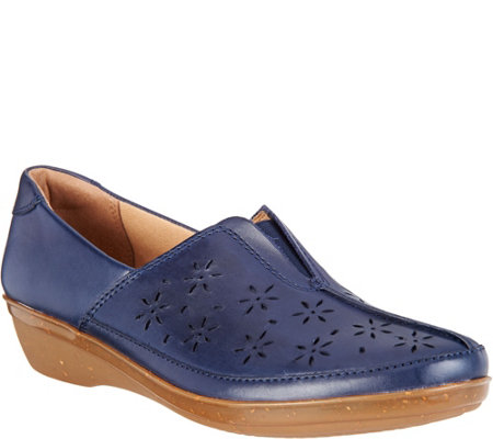 Clarks Leather Perforated Slip-ons - Everlay Dairyn