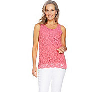 Kelly by Clinton Kelly Sleeveless Lace Front Knit Top - A290533