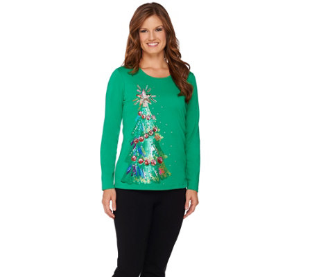 """As Is"" Quacker Factory Holiday Sequin Tree Long Sleeve T-shirt"