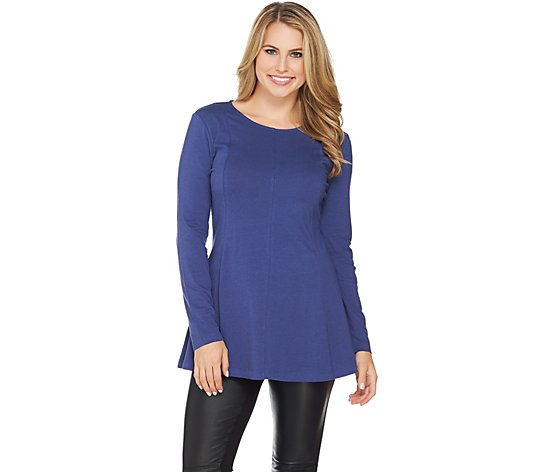 """As Is"" Denim & Co. Essentials Long Sleeve Round Neck Fit and Flare Top"