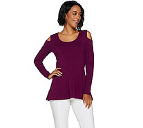 Isaac Mizrahi Live! Cold Shoulder Scoop Neck Peplum Top - A293933