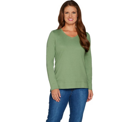 Isaac Mizrahi Live! Essentials Rounded V-neck Hi-Low Hem Top