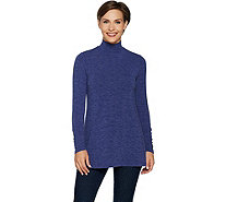 Lisa Rinna Collection Mock Neck Long Sleeve Knit Top - A297333