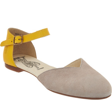 """As Is"" FLY London Leather Two-Piece Flats - Mion"
