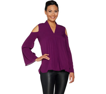Kelly by Clinton Kelly Cold Shoulder Woven Pleat Front Top