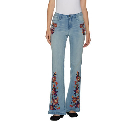 G.I.L.I. Petite Flare Leg Jean with Embroidery