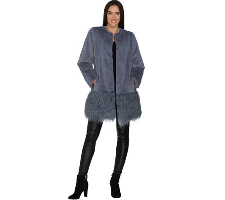 Dennis Basso Faux Sheared Mink Coat With Curly Faux Fur Border