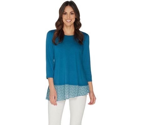 LOGO by Lori Goldstein Solid Crepe Top w/ Embroidered Hem Detail