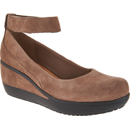 """As Is"" Clarks Artisan Leather Ankle Wrap Wedge Pumps- Wynnmere Fox"