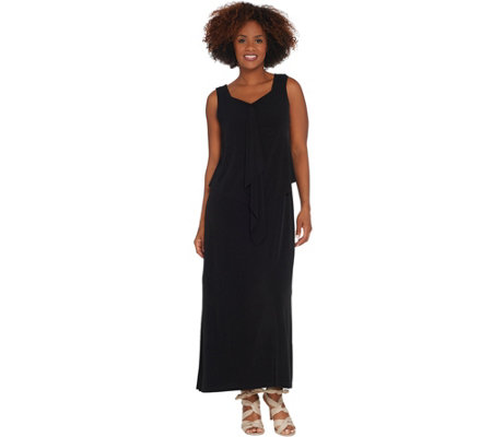 Susan Graver Petite Liquid Knit Tiered Maxi Dress