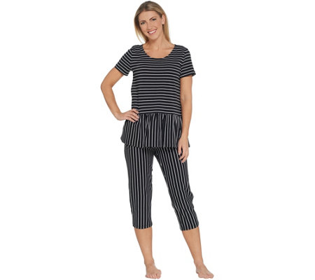 AnyBody Loungewear Cozy Knit Stripe Peplum & Capri PJ Set