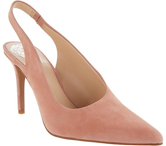 Vince Camuto Suede Pointy Toe Slingback Pumps -Ampereta