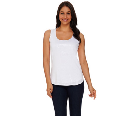 """As Is"" Kelly by Clinton Kelly Printed Sequin Knit Tank"