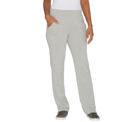 """As Is"" Denim & Co. Active Regular Knit Pants with Mesh Trim"