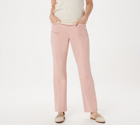 Denim & Co. Double Weave Straight-Leg Pants with Seaming Detail