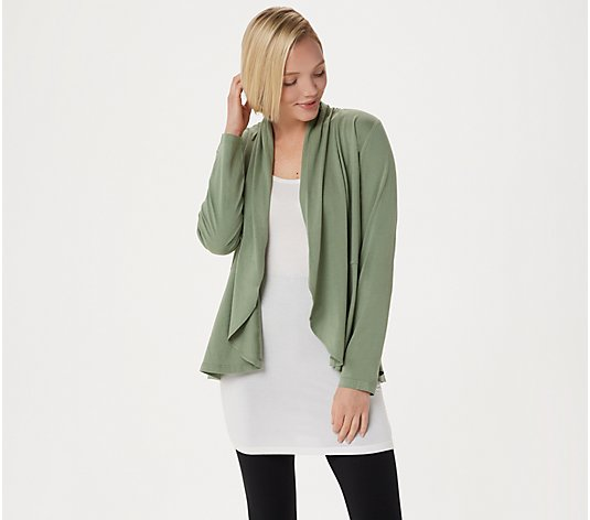LOGO Principles by Lori Goldstein Draped Front Cardigan