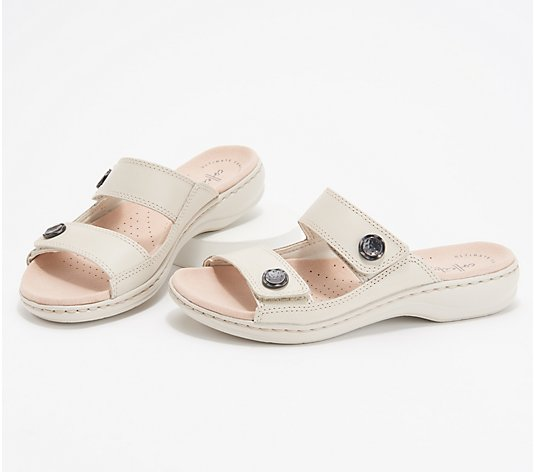 Clarks Collection Leather Slide Sandals - Leisa Glow