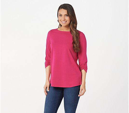 Belle by Kim Gravel TripleLuxe Knit Ruched 3/4-Sleeve Top