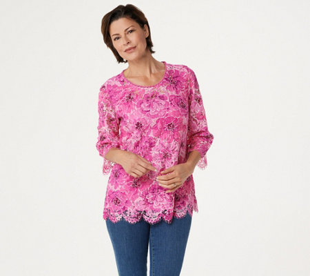 Isaac Mizrahi Live! Floral Printed Lace 3/4-Sleeve Knit Top