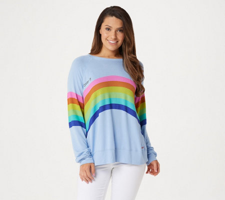 Peace Love World Raglan Sleeve Comfy Pullover w/ Affirmation