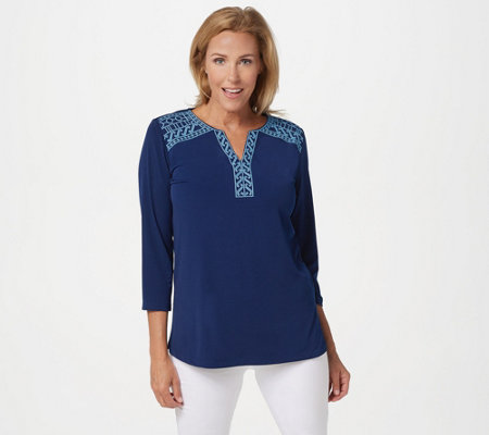 Susan Graver Liquid Knit 3/4-Sleeve Top with Embroidery