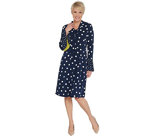 """As Is"" Susan Graver Polka Dot Liquid Knit Dress with Tie"