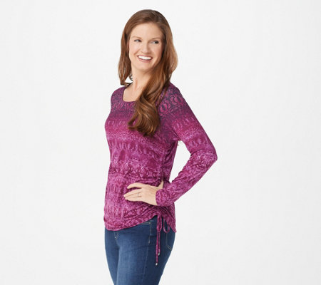 Belle by Kim Gravel Ombre Print Side Ruched Knit Top