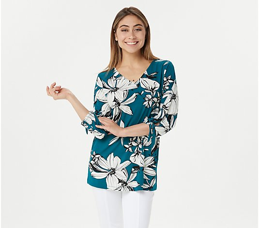"""As Is"" Susan Graver Printed Liquid Knit Top with Tie Sleeves"