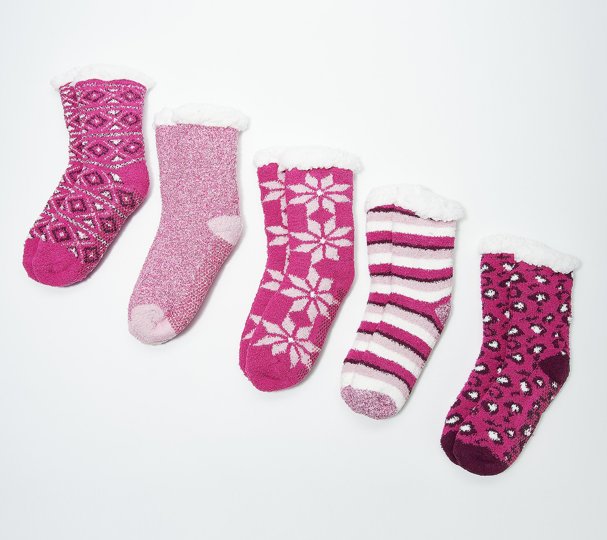 Set of 5 Cuddl Duds Faux Sherpa Cozy Lined Socks