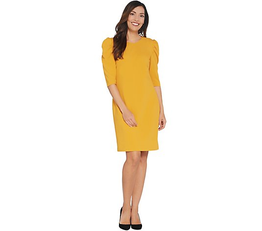 """As Is"" Vince Camuto 3/4 Sleeve Puff Shoulder Crepe Ponte Dress"