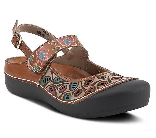 L'Artiste By Spring Step Adjustable Leather Clogs - Cybele