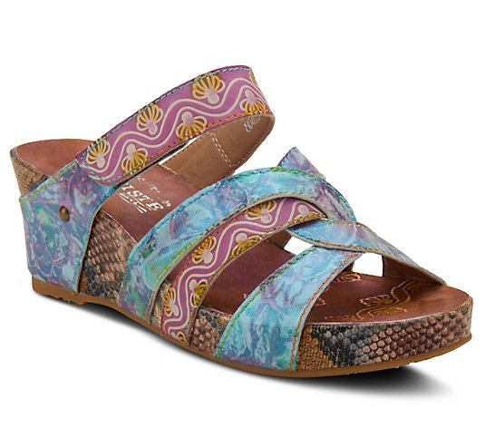 L'Artiste By Spring Step Leather Wedge Sandals- Pinriyo