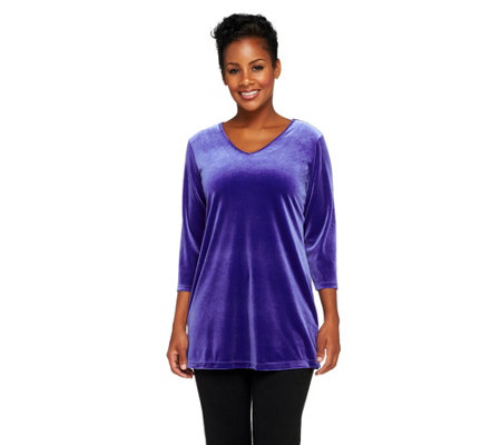 Susan Graver Stretch Velvet V-neck 3/4 Sleeve Tunic