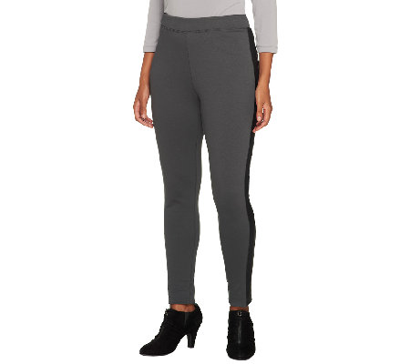 Joan Rivers Petite Ponte Knit Slim Pants w/ Faux Leather Detail