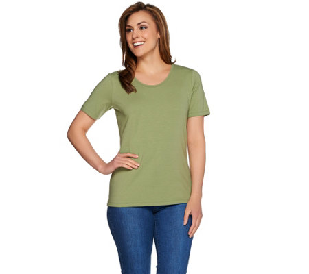 Denim & Co. Essentials Scoopneck T-Shirt w/ Trim