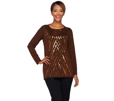 Bob Mackie's Long Sleeve Jewel Neck Sequin Front Knit Tunic