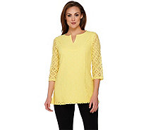 Isaac Mizrahi Live! 3/4 Sleeve Mixed Lace Tunic - A274534