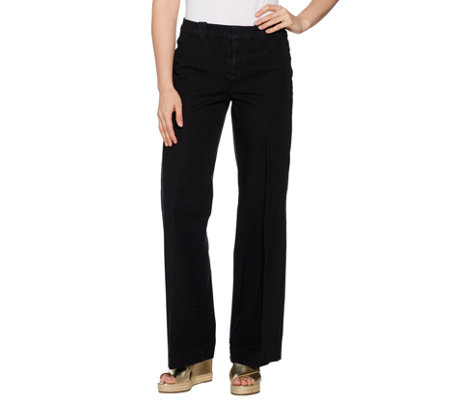 Isaac Mizrahi Live! Tall 24/7 Denim Fly Front Wide Leg Jeans