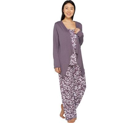 7f7bc8a153 Carole Hochman Floral Vine Cotton Jersey 3-Piece Pajama Set - Page 1 ...