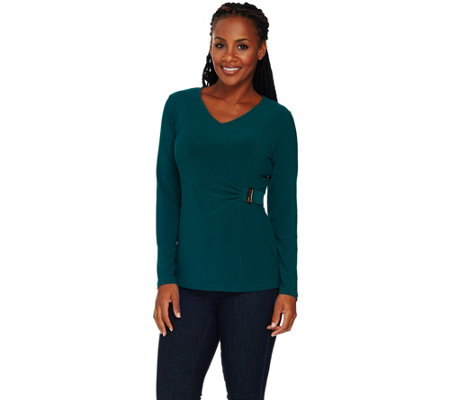 As Is Susan Graver Textured Liquid Knit Top With Side Trim