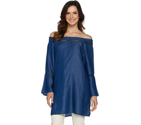 Du Jour Off the Shoulder Denim Tunic